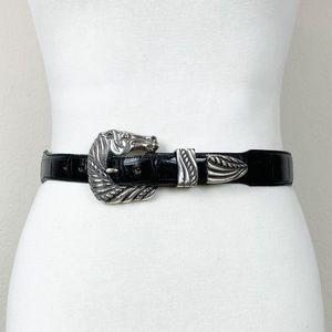 Brighton Onyx genuine leather Horse Buckle Belt